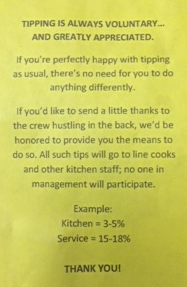 Tipping is always...
