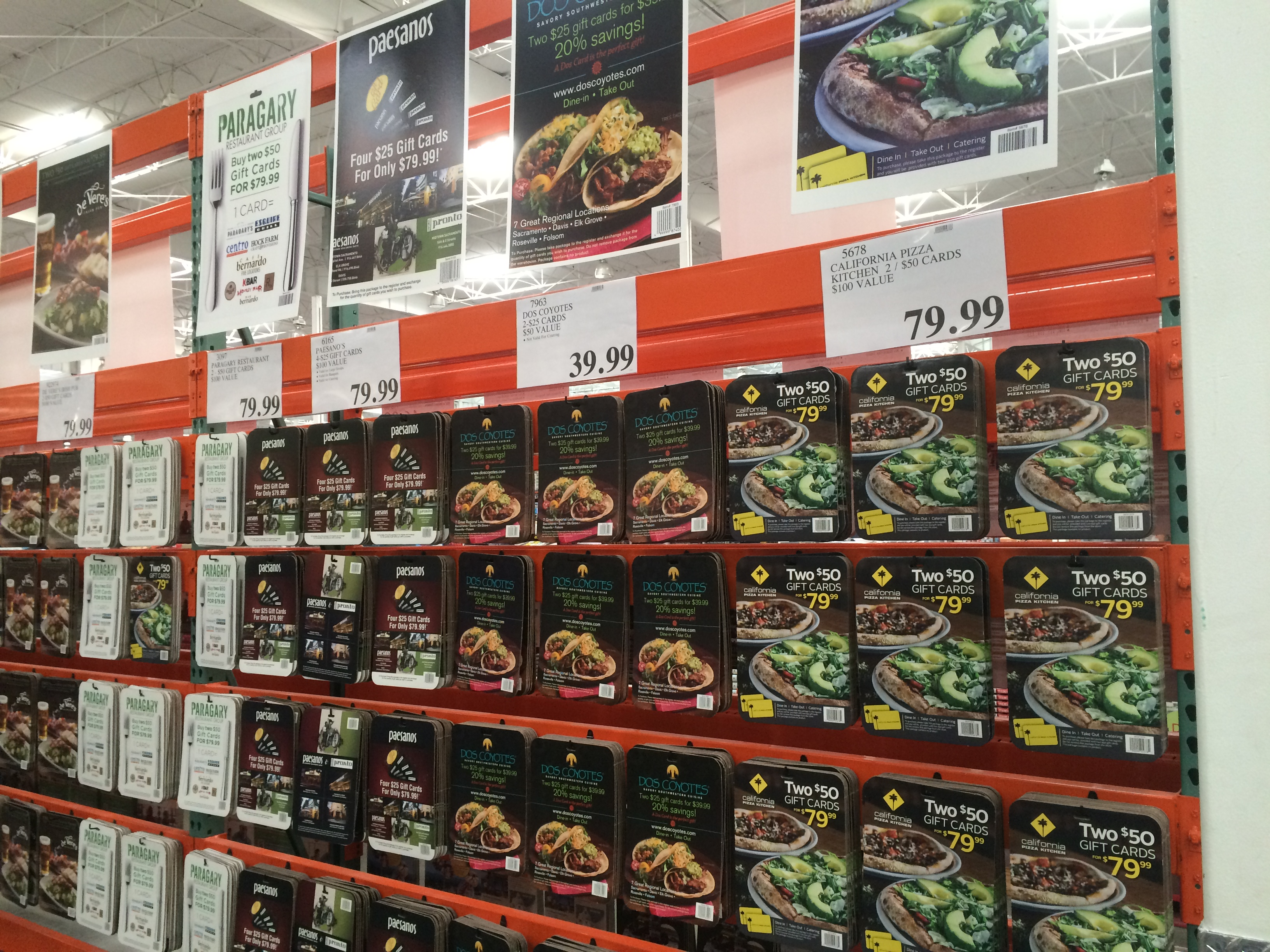 Restaurant Gift Cards at Costco (Cowtown Eats)