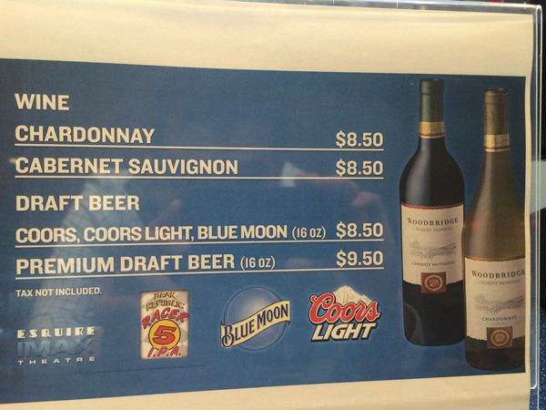 Dining News What You Ll Pay To Drink At The Imax Cowtown